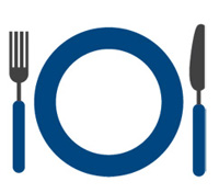 plate, fork, and knife icon