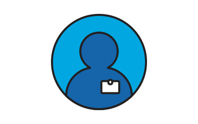 person wearing id badge icon