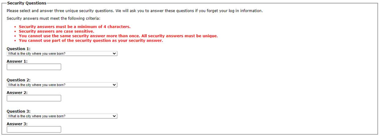 NetPartner select and answer security questions