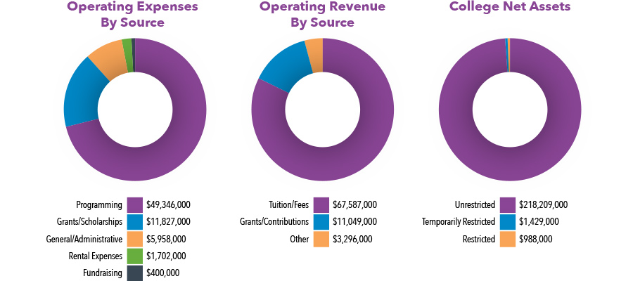 pie graphs depicting operating expenses by source, operating revenue by source, and college net assets