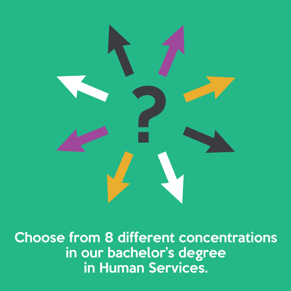 Choose from 8 different concentrations in our bachelor's degree in Human Services.