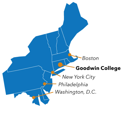 A map of New England showing the relative positions of Goodwin College (career education in the U.S. for international students), New York City, Boston, Washington, D.C., and Philadelphia.