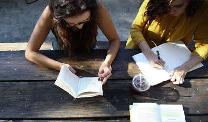 students studying at a picnic table