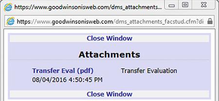 image of transfer evaluation window