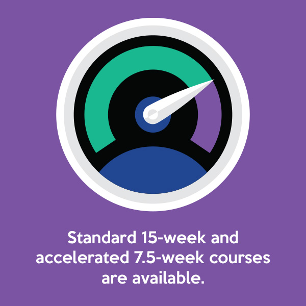 Standard 15-week and accelerated 7.5-week courses are available.