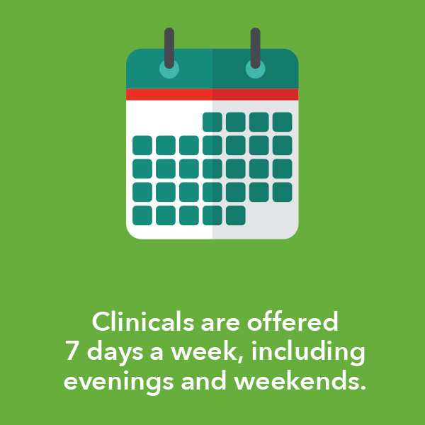 Clinicals are offered 7 days a week, including evenings and weekends.