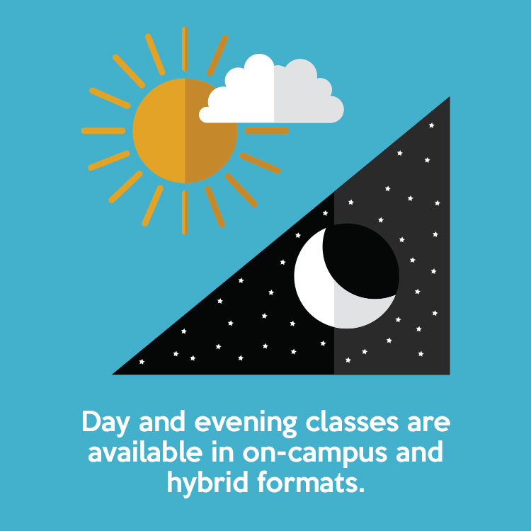 Day and evening classes are available in on-campus and hybrid formats.