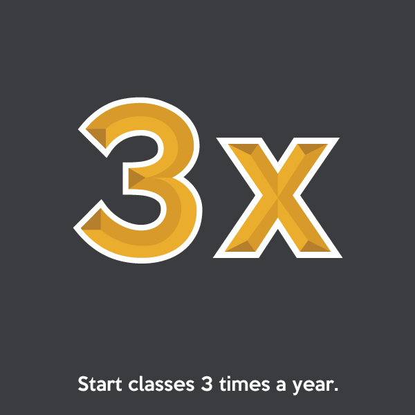 Start classes 3 times a year.