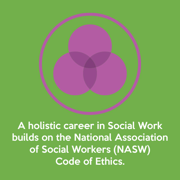 A holistic career in Social Work builds on the National Association of Social Workers (NASW) Code of Ethics.