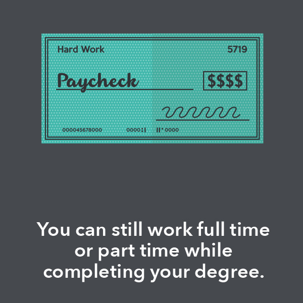 You can still work full time or part time while completing your degree.