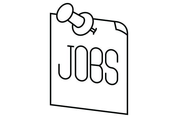 lineart drawing of a jobs sign