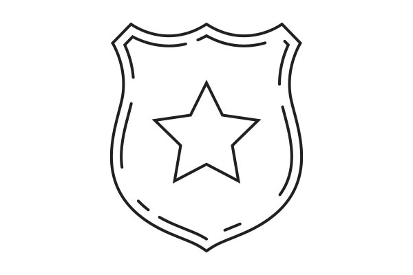 lineart drawing of a badge