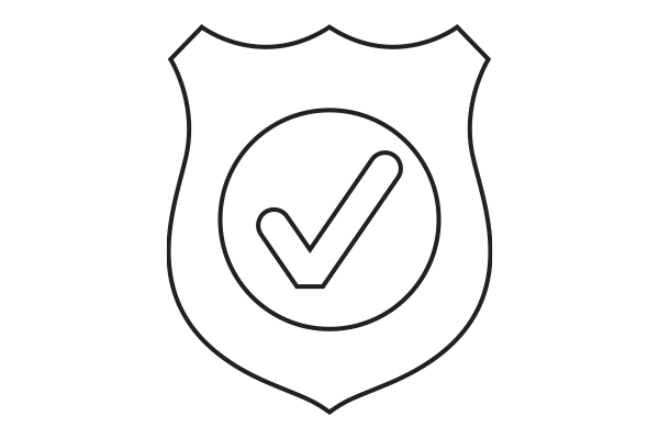 lineart drawing of a badge with a checkmark inside