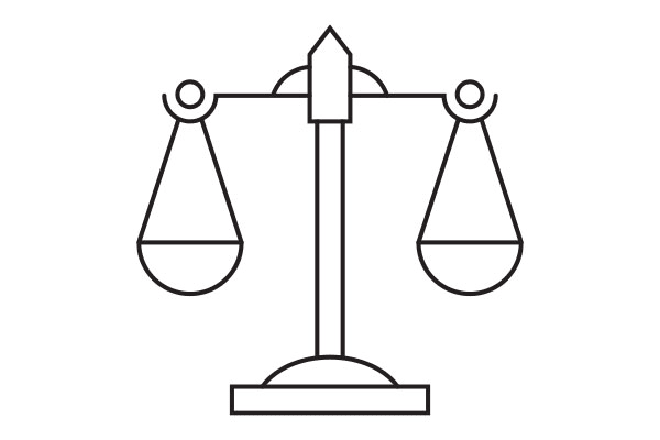 lineart illustration of the scales of justice