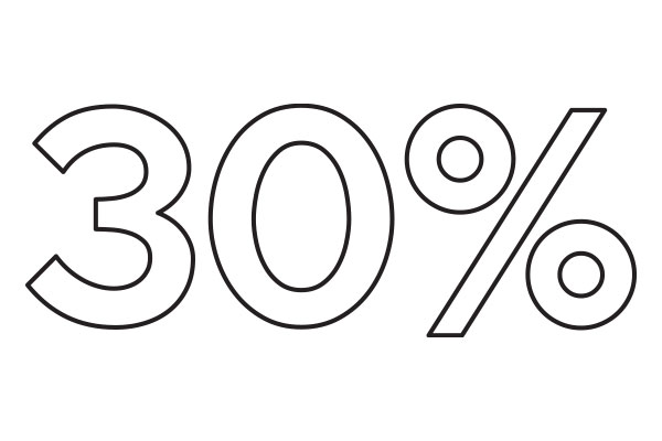 outlined 30% text