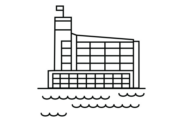 lineart illustration of a building