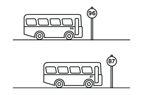 lineart illustration of a buses