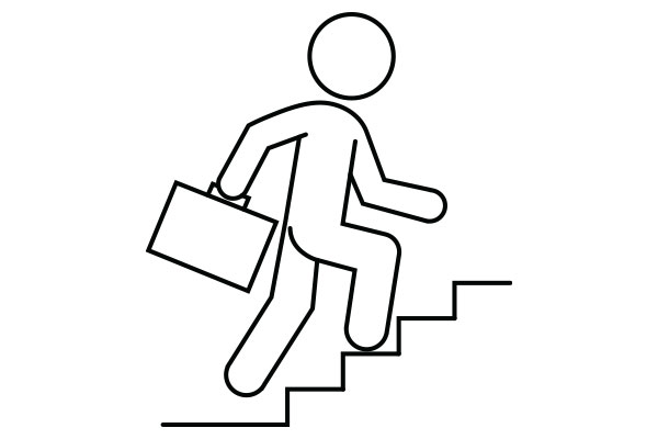 lineart illustration of a person holding a briefcase climbing stairs