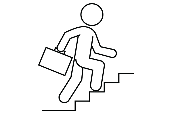 lineart drawing of a person holding a briefcase climbing stairs