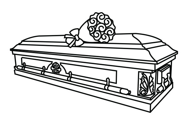 lineart drawing of a casket with flowers on top of it