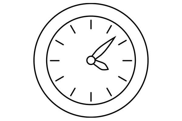 lineart drawing of a clock
