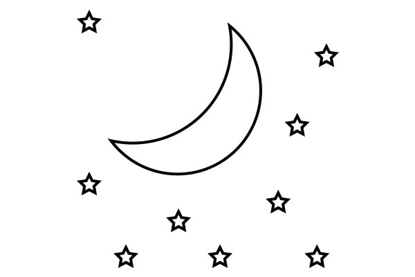 lineart drawing of the moon and stars
