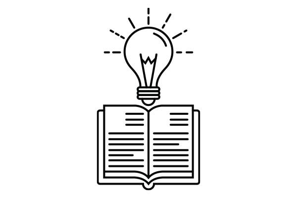 lineart drawing of an open book with a lightbulb above