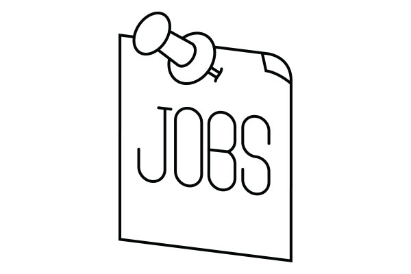 lineart illustration of a jobs sign