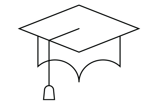 lineart drawing of a graduation cap