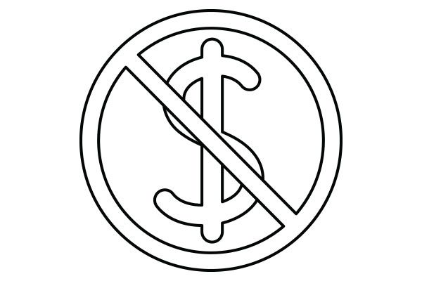 lineart drawing of a dollar sign with a slash through it