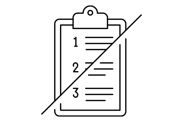 lineart drawing of a numbered list with a slash through it
