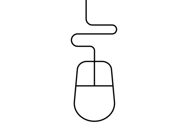 lineart drawing of a computer mouse