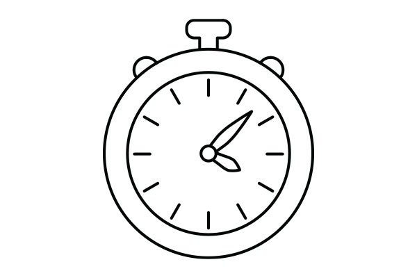 lineart illustration of a stopwatch
