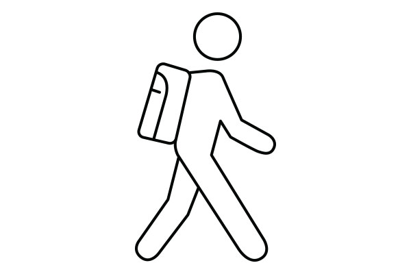 lineart drawing of a student with backpack